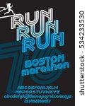 run boston marathon sport font. ... | Shutterstock .eps vector #534233530