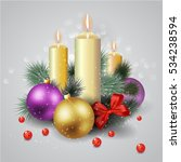 christmas candle composition. | Shutterstock .eps vector #534238594