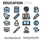vector flat education icons set ... | Shutterstock .eps vector #534243199