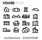 vector line house icons set on... | Shutterstock .eps vector #534243208