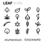 vector line leaf icons set on... | Shutterstock .eps vector #534244690