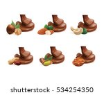 nuts with liquid chocolate   Shutterstock .eps vector #534254350