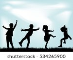 silhouettes of children... | Shutterstock .eps vector #534265900