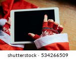Woman\'s Hand With Red Wool...