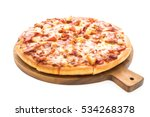 hawaiian pizza on wooden plate... | Shutterstock . vector #534268378