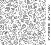 seamless pattern with healthy... | Shutterstock .eps vector #534274300