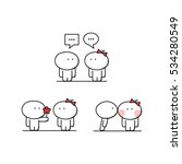 cute man talks to the woman ... | Shutterstock .eps vector #534280549
