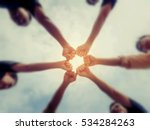 circle shape hand of team... | Shutterstock . vector #534284263