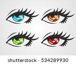 eyes narrow pupils  brown  blue ... | Shutterstock .eps vector #534289930
