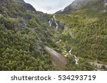 Flam train ascent in Norway. Norwegian mountain landscape. Tourism. Horizontal - stock photo