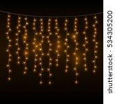 yellow garlands on dark... | Shutterstock .eps vector #534305200