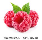 raspberry with leaves isolated... | Shutterstock . vector #534310750