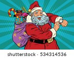 santa claus shows on the clock  ... | Shutterstock . vector #534314536