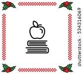 web line icon. apple on books ... | Shutterstock .eps vector #534316069