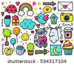 doodles cute elements. color... | Shutterstock .eps vector #534317104