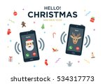 christmas greeting card with... | Shutterstock . vector #534317773