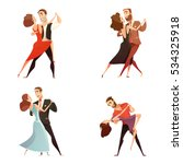 dance pair retro cartoon set of ... | Shutterstock .eps vector #534325918