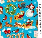 christmas winter seamless... | Shutterstock . vector #534329914