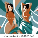 cubist women painting | Shutterstock .eps vector #534331060