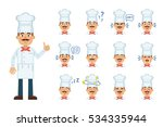 set of cook character emoticons.... | Shutterstock .eps vector #534335944