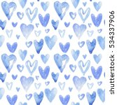 blue hearts pattern. happy...   Shutterstock . vector #534337906