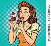 retro woman with cupcake pop... | Shutterstock . vector #534338920