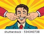 man forced to smile  pop art...   Shutterstock . vector #534340738