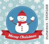christmas badge with snowman... | Shutterstock .eps vector #534341668