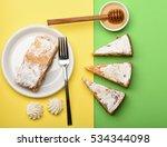 tasty apple strudel on white... | Shutterstock . vector #534344098
