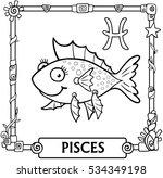 zodiac sign pisces. fantastic... | Shutterstock .eps vector #534349198