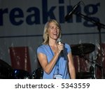 """Talk Radio host and best selling author of the book """"Power to the People"""" Laura Ingraham on stage at the Sean Hannity Freedom Concert on 9 11 2007 at Great Adventure in New Jersey. - stock photo"""