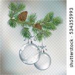 vector christmas fir tree and... | Shutterstock .eps vector #534355993