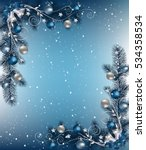 christmas background with fir... | Shutterstock .eps vector #534358534