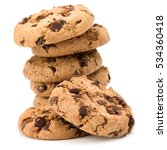 Small photo of Stacked Chocolate chip cookies isolated on white background. Sweet biscuits. Homemade pastry.