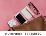 top view of woman hipster...   Shutterstock . vector #534368590