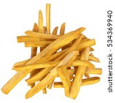bunch of french fries isolated... | Shutterstock . vector #534369940