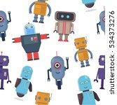 colorful cartoon robots... | Shutterstock .eps vector #534373276