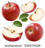 Red Apple Set 2 Isolated On...