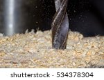 Wood Drill In Action  Sawdust...