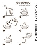 tea brewing cooking directions.... | Shutterstock .eps vector #534387400