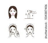 woman removing make up with... | Shutterstock .eps vector #534387406