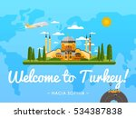 welcome to turkey poster with...   Shutterstock .eps vector #534387838