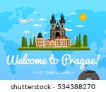 welcome to prague travel poster ... | Shutterstock .eps vector #534388270
