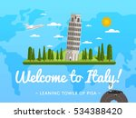 welcome to italy poster with... | Shutterstock .eps vector #534388420