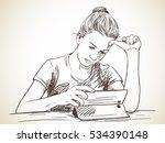girl focused on using tablet ... | Shutterstock .eps vector #534390148