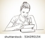girl focused on using tablet ... | Shutterstock .eps vector #534390154