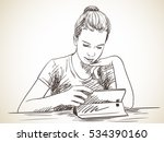 Girl Focused On Using Tablet ...