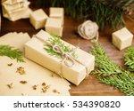 christmas gift in organic craft ... | Shutterstock . vector #534390820