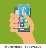 hand holds smartphone internet... | Shutterstock .eps vector #534396808