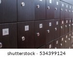 photo of green lockers in the... | Shutterstock . vector #534399124